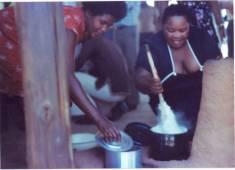 Preparing nshima and ndiwo